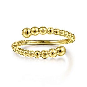 14KT Yellow Gold Bujukan Bead Bypass Ring