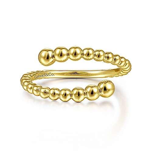 Gabriel & Co 14KT Yellow Gold Bujukan Bead Bypass Ring
