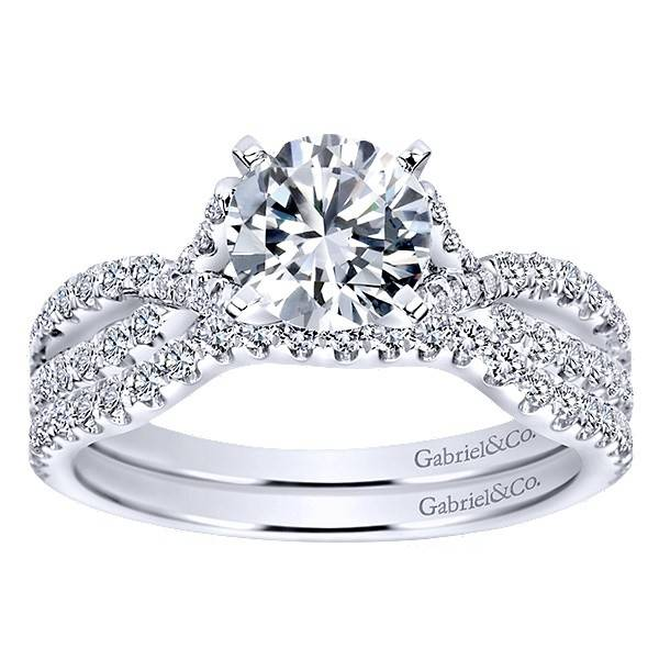 Gabriel & Co Gabriel ER7544 14kt White Gold  Criss Cross Engagement Ring
