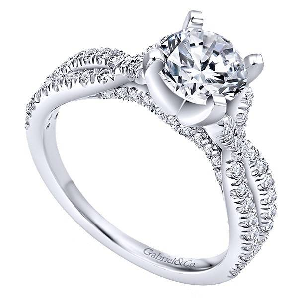 Gabriel ER7544 14kt White Gold  Criss Cross Engagement Ring