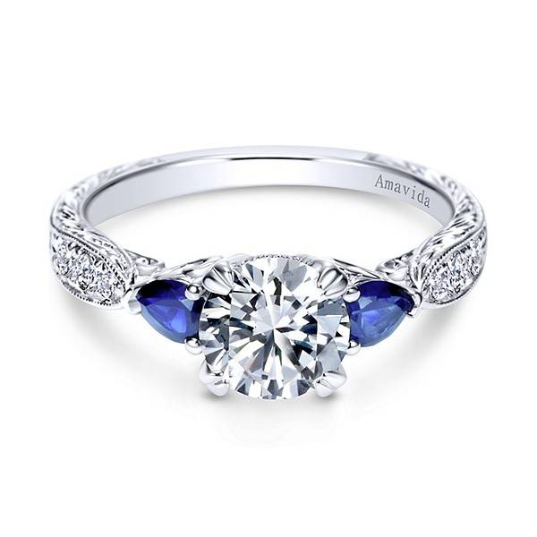Gabriel & Co ER8773 platinum sapphire pear shaped ring
