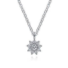 NK6416 Diamond Flower Pendant Necklace