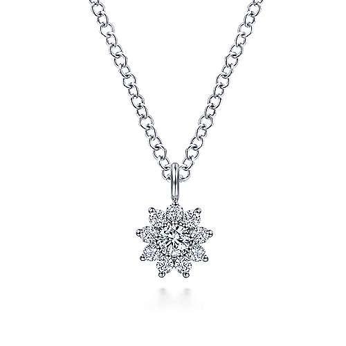 Gabriel & Co NK6416 Diamond Flower Pendant Necklace