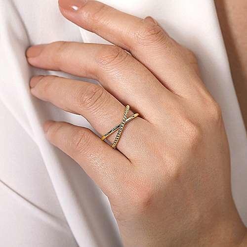 Gabriel & Co LR51798 Beaded Criss Cross Ring