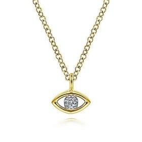 14kt Yellow Gold Diamond Eye Pendant Necklace