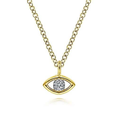 Gabriel & Co 14kt Yellow Gold Diamond Eye Pendant Necklace