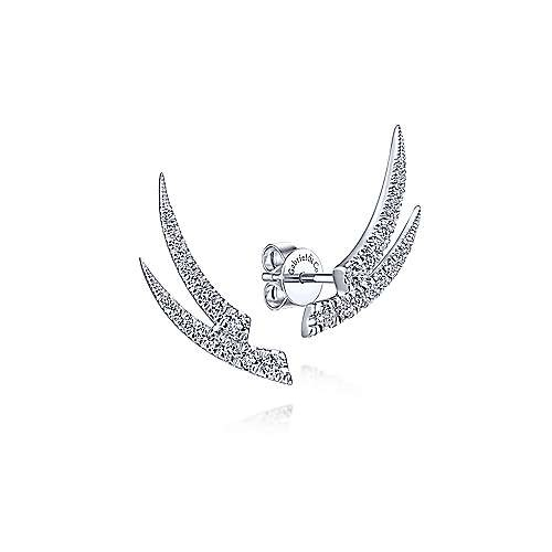 EG13940 Curved Double Bar Diamond Earrings
