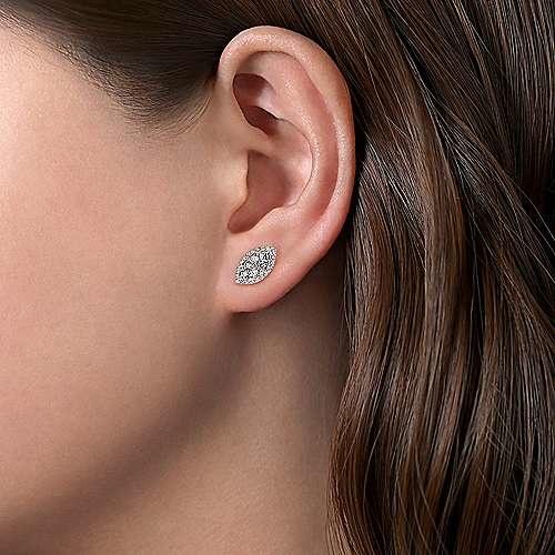 Gabriel & Co Marquise Cluster Diamond Stud Earrings
