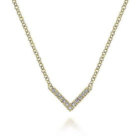14kt Yellow Gold V Shaped Diamond Necklace