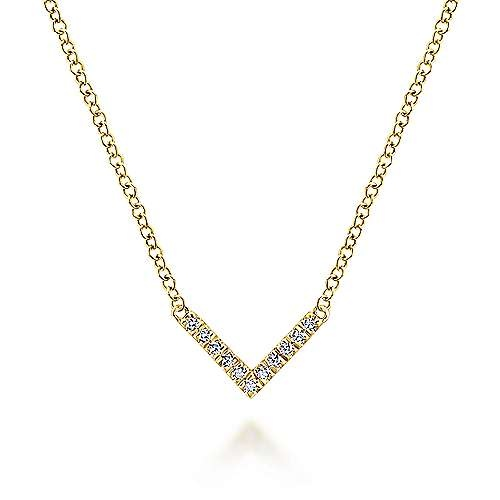 Gabriel & Co 14kt Yellow Gold V Shaped Diamond Necklace