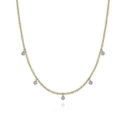 NK6469 Bezel Set Diamond Drop Necklace