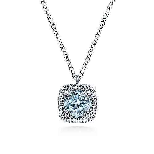 Gabriel & Co NK6144 Aquamarine and Diamond Halo Necklace