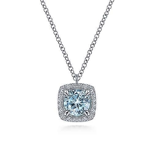 NK6144 Aquamarine and Diamond Halo Necklace