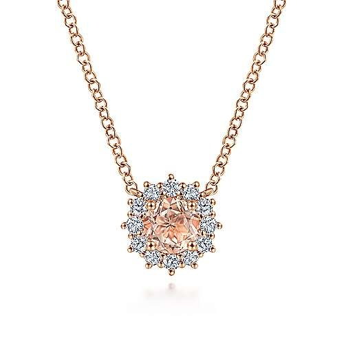 Gabriel & Co NK6143 Rose Gold Morganite and Diamond Halo Necklace