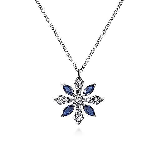 Gabriel & Co Sapphire & Diamond Snowflake Necklace