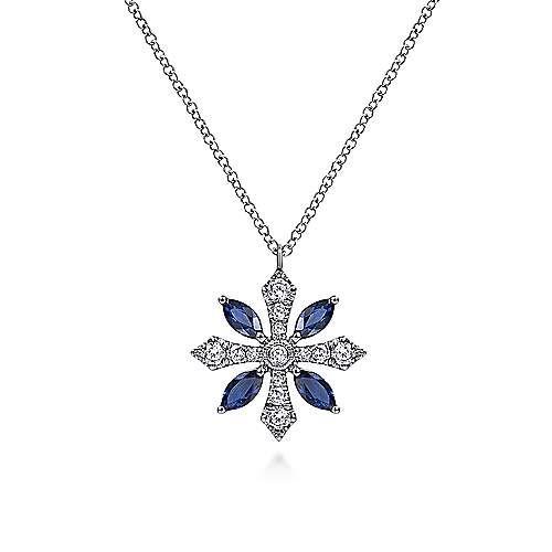 Sapphire & Diamond Snowflake Necklace