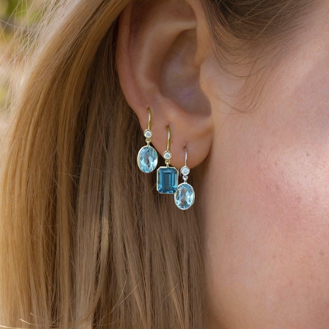 Meira T Emerald Cut Blue Topaz & Diamond Single Earring
