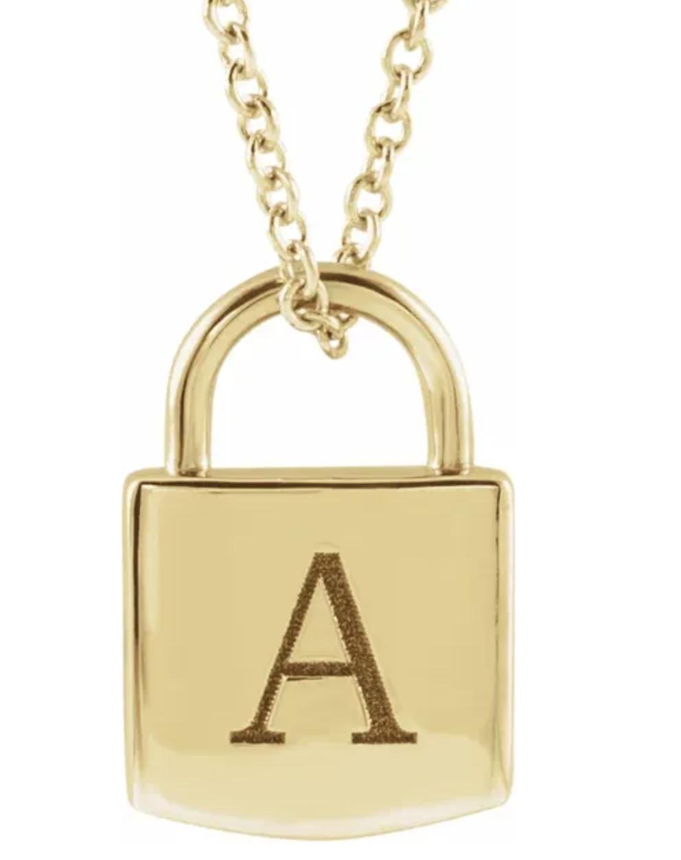 14kt Gold Engravable Lock Necklace