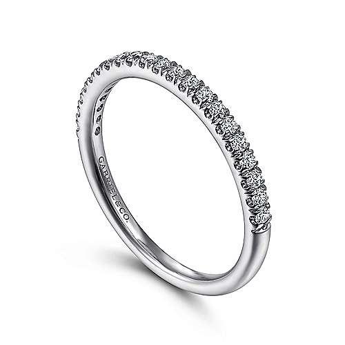 Gabriel & Co AN7620 french pave thin diamond wedding band