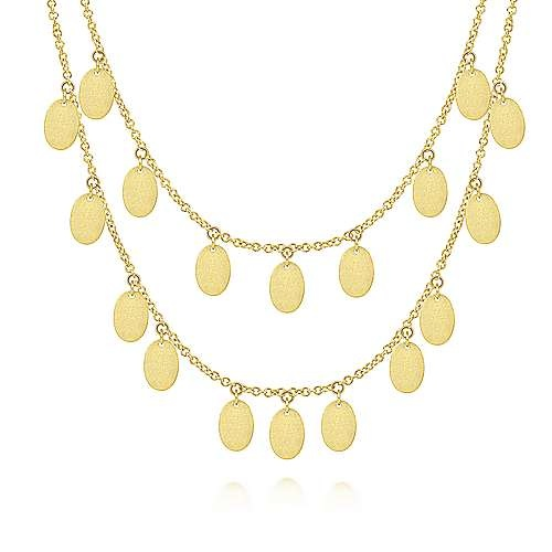 Two Strand Oval Drop Choker Necklace