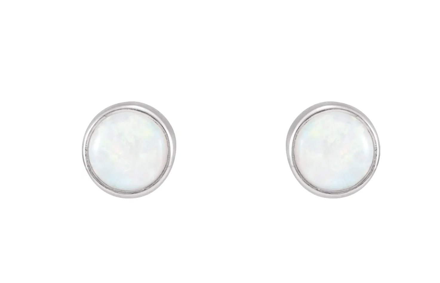 14kt white gold opal bezel stud earrings