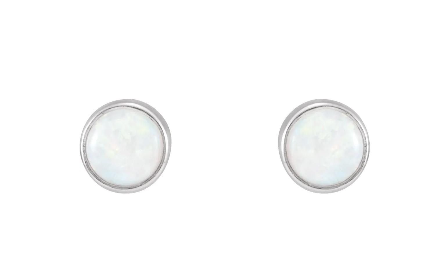 14kt white gold opal bezel stud earrings