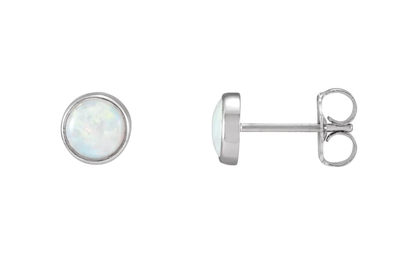 Stuller 14kt white gold opal bezel stud earrings