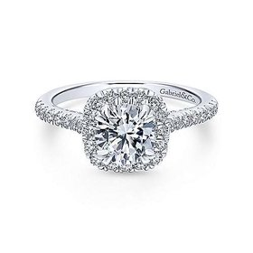 ER12664 Pave Halo Engagement Ring Setting