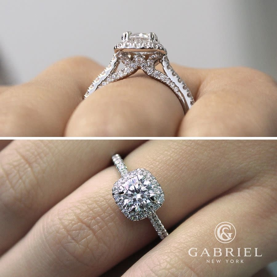 Gabriel & Co ER12664 Pave Halo Engagement Ring Setting