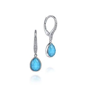 Rock Crystal, Turquoise & Diamond Drop Earrings