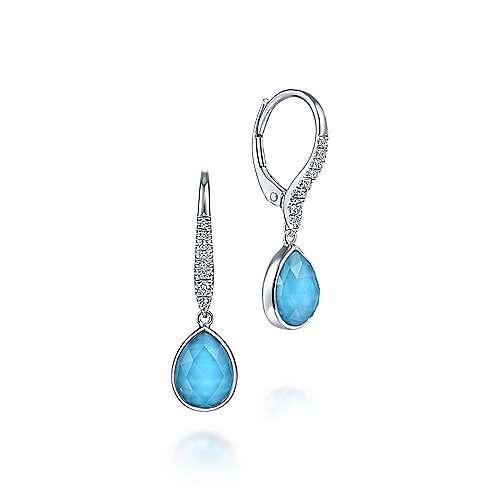 Gabriel & Co Rock Crystal, Turquoise & Diamond Drop Earrings