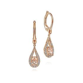 14kt Rose Gold Morganite & Diamond Drop Earrings