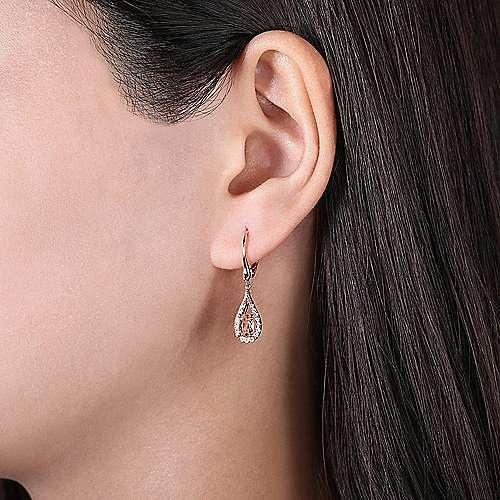 Gabriel & Co 14kt Rose Gold Morganite & Diamond Drop Earrings