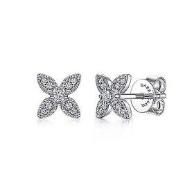 EG14034 Diamond Flower Stud Earrings