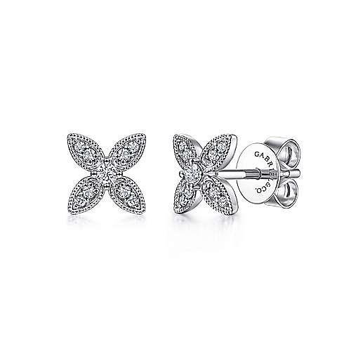 Gabriel & Co EG14034 Diamond Flower Stud Earrings