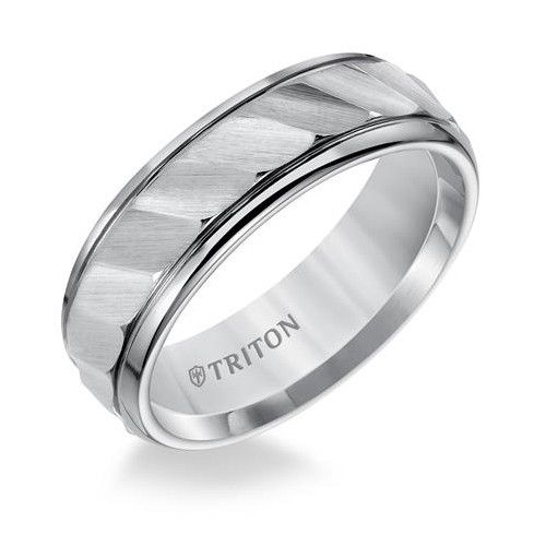 Triton 11-2925 tungsten wave cut wedding ring