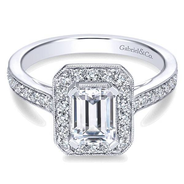 ER7528 Emerald Cut Halo