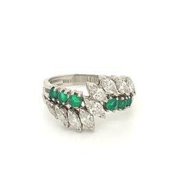Platinum Marquise Diamond & Round Emerald Ring