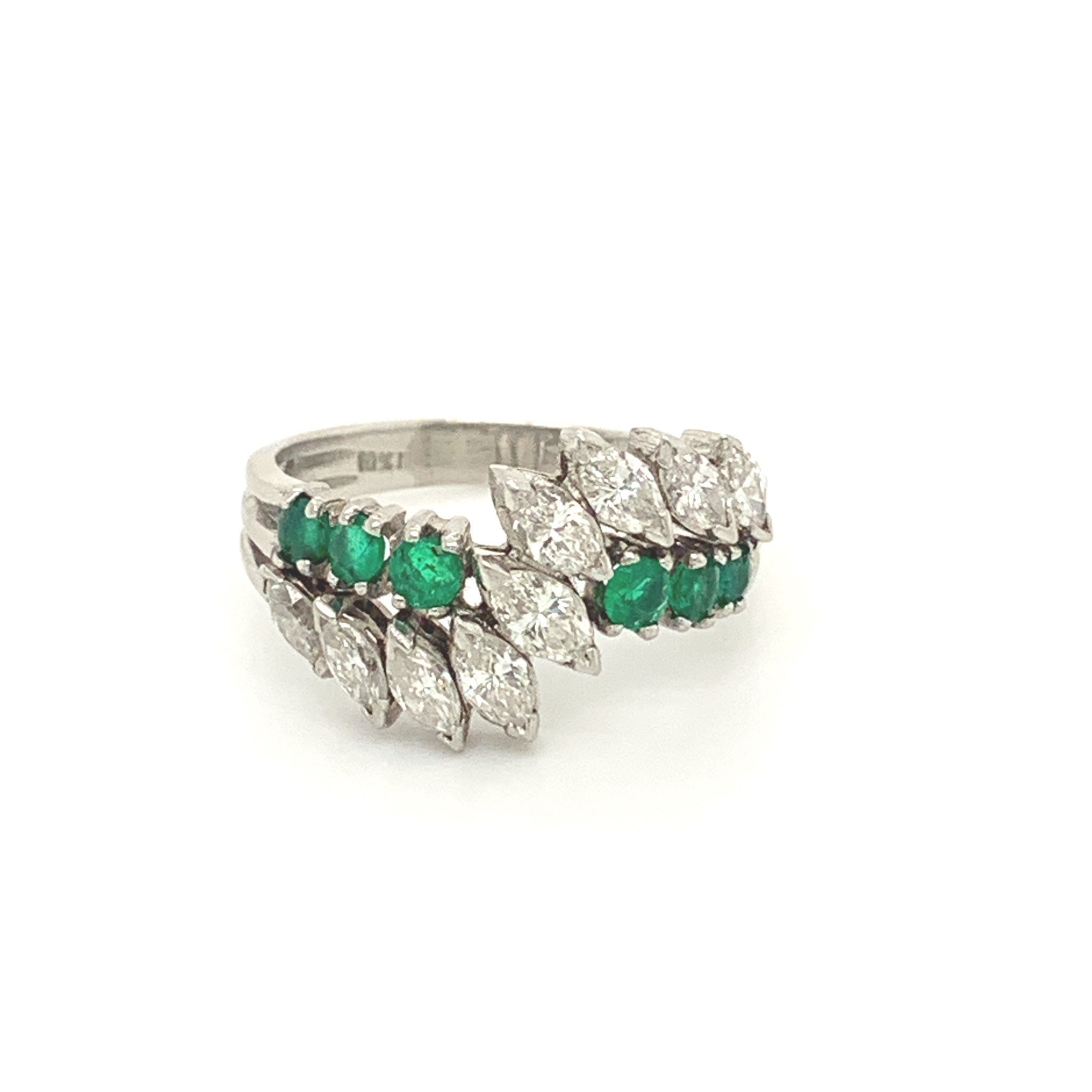 Platinum Marquise Diamond & Round Emerald Ring