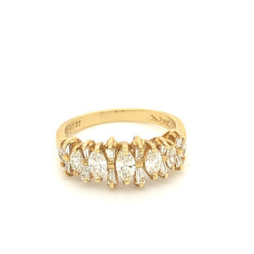 18kt Yellow Gold Marquise & Baguette Diamond Band