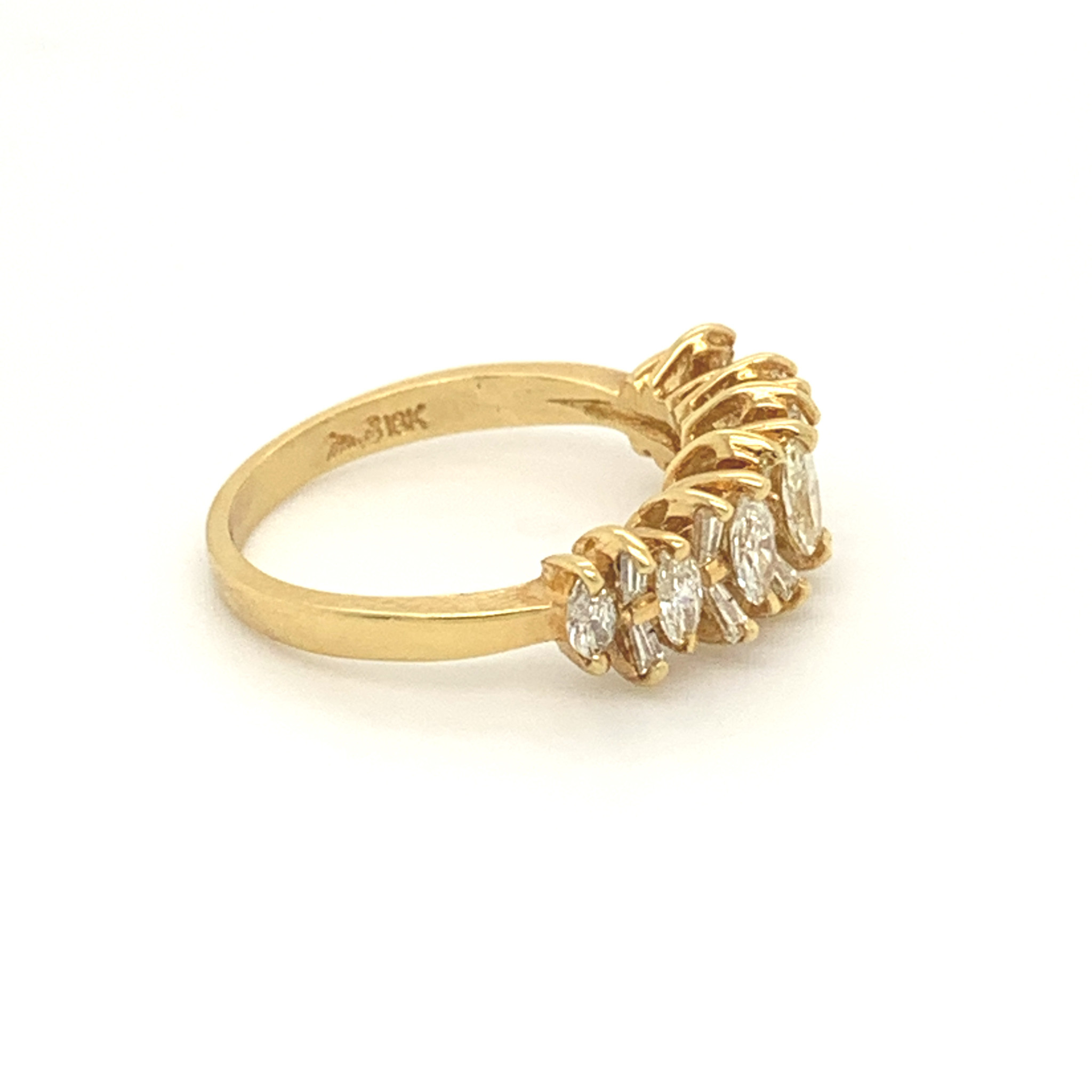 Freedman 18kt Yellow Gold Marquise & Baguette Diamond Band