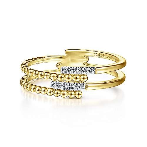 LR51455 Gold Beaded Diamond Interlocking Ring