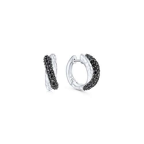 Black Spinel Silver Huggie Earrings