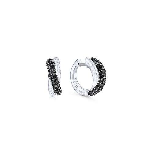 Gabriel & Co Black Spinel Silver Huggie Earrings