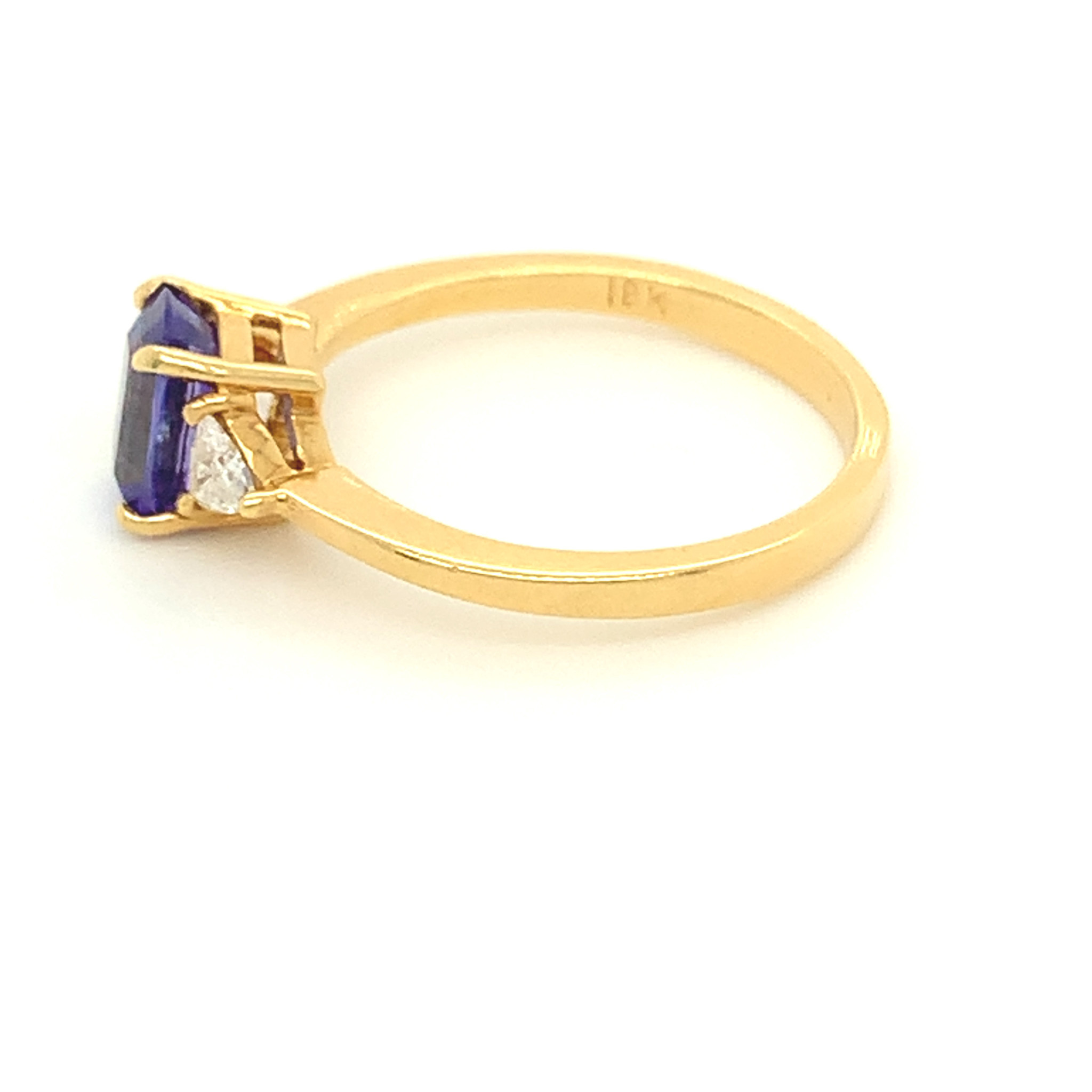 Freedman 18kt yellow gold Tanzanite & Diamond 3 stone Ring