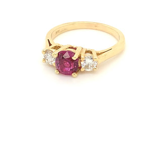 14kt yellow gold 3-stone Ruby & Diamond Ring