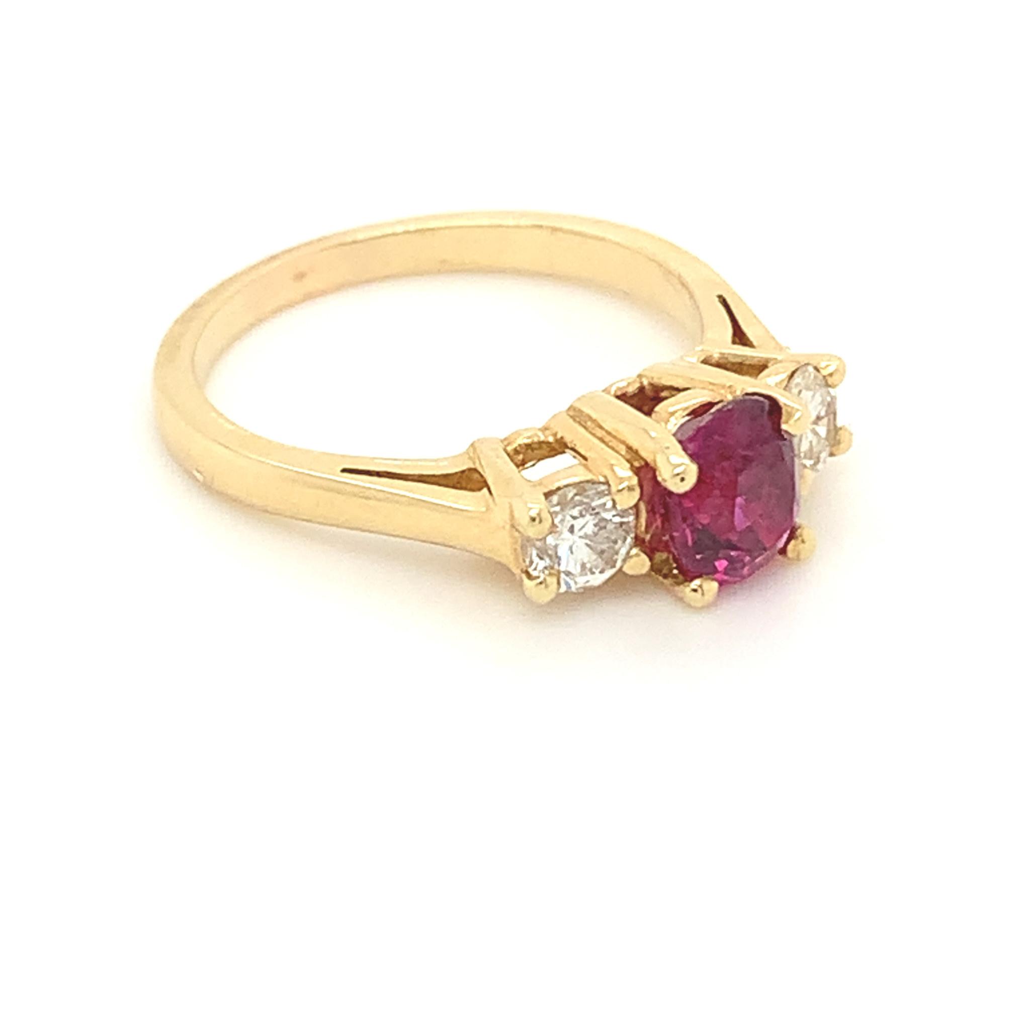 Freedman 14kt yellow gold 3-stone Ruby & Diamond Ring