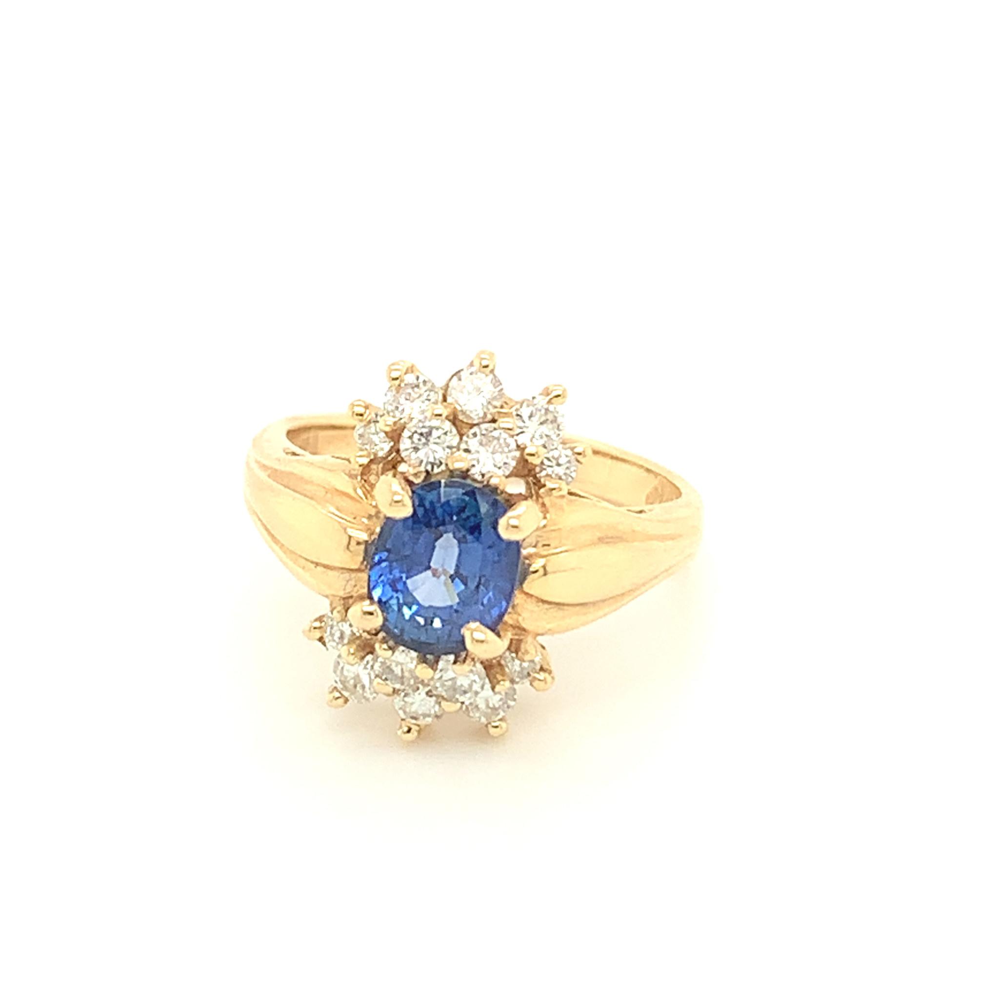 1.52ct Oval Sapphire & Diamond Ring 0.50 carat total
