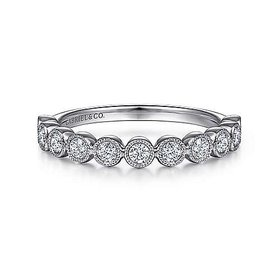 LR51932 Milgrain Bezel Diamond Stackable Ring