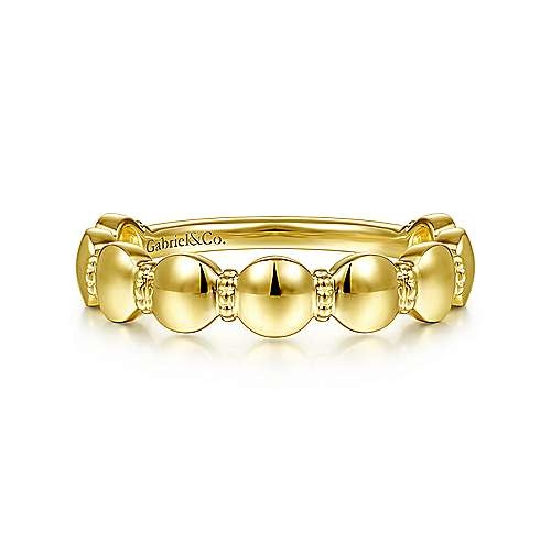 Gabriel & Co LR51959 14kt Yellow Gold Round Station Stackable Ring